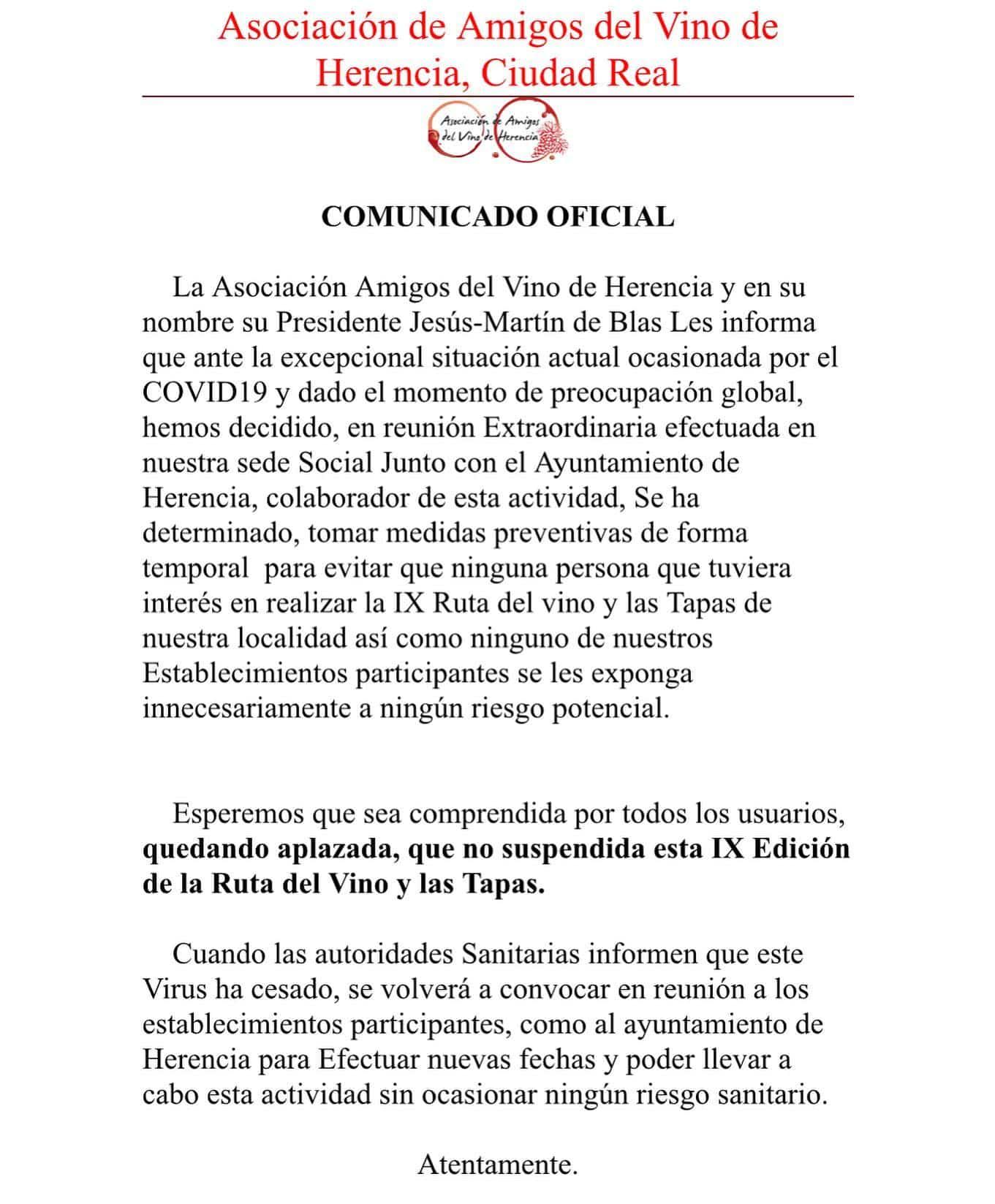 comunicado IX Edicion de la Ruta del Vino y las Tapas - Aplazada la IX Edición de la Ruta del Vino y las Tapas por el coronavirus