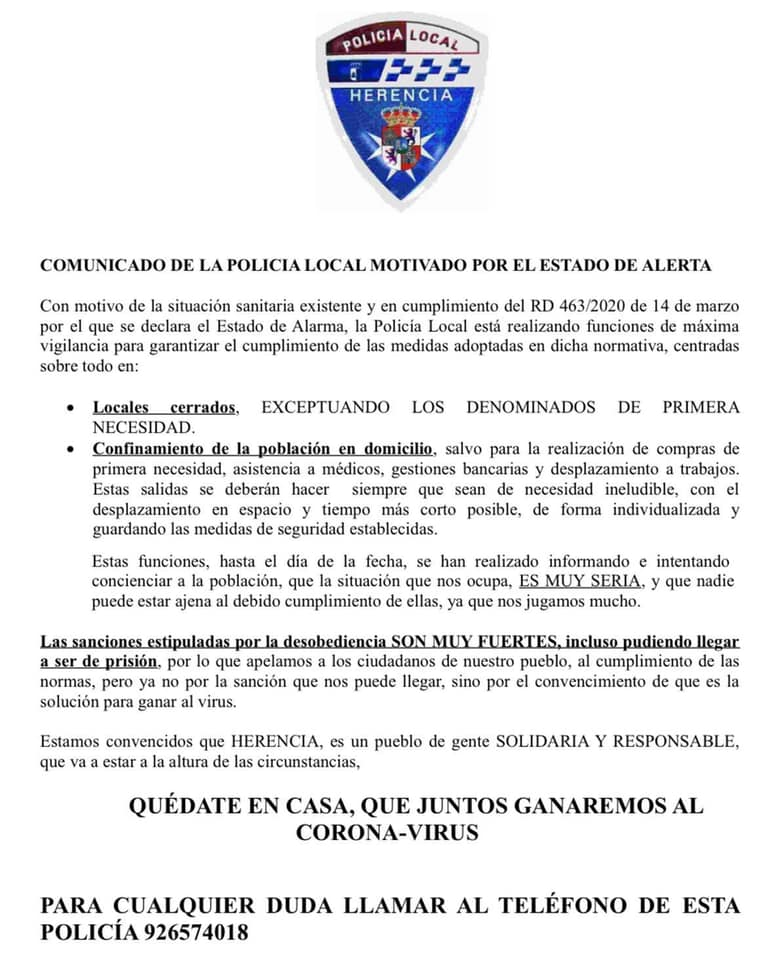 Comunicado de la Policía Local de Herencia motivado por el Estado de Alarma 3