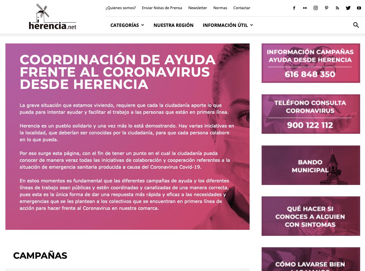 web coronavirus - Herencia movilizada contra el coronavirus