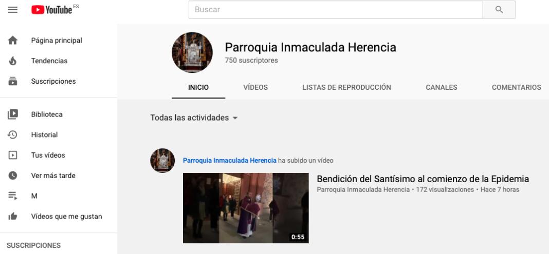 Canal Yotube Parroquia Inmaculada Concepción 1068x495 - La parroquia Inmaculada Concepción crea su propio canal de YouTube para poder retransmitir en directo sus celebraciones religiosas