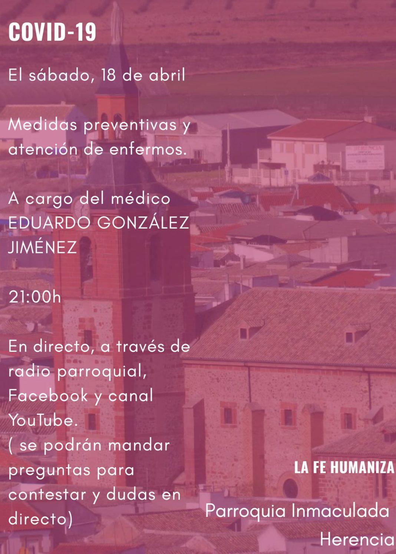 Charla sobre medidas preventivas y atención a enfermos 1068x1495 - Charla sobre medidas preventivas y atención a enfermos de COVID-19 a cargo del médico Eduardo González