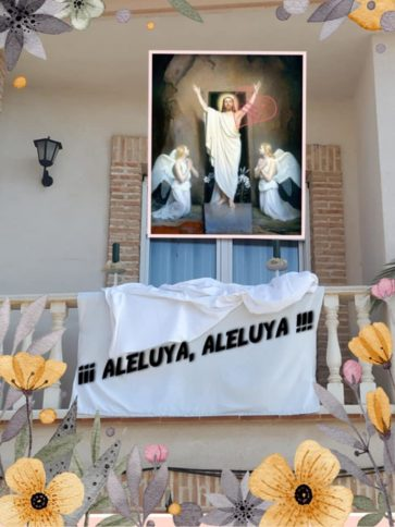 Domingo de Resurrecci%C3%B3n en Herencia2 363x484 - El Domingo de Resurrección y la bendición pascual pusieron fin a una Semana Santa atípica