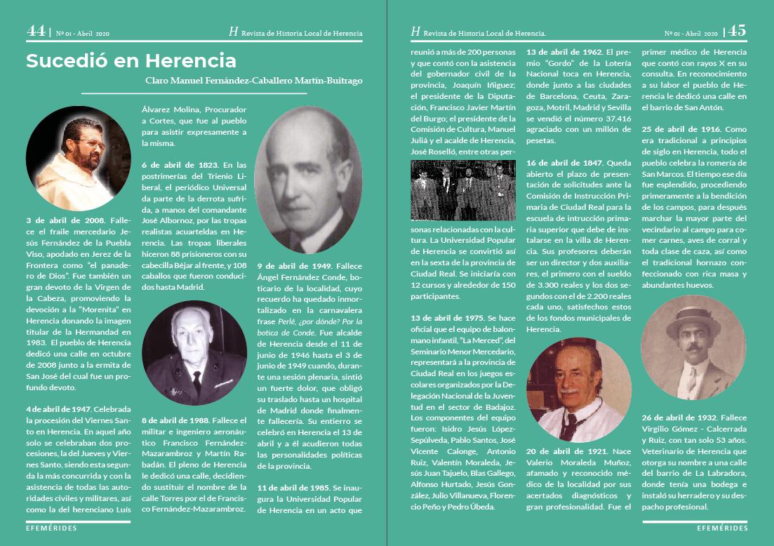 H revista de Historia Local de Herencia1 - La Universidad Popular, a través del Taller de Historia Local, lanza una revista sobre la historia y el patrimonio de Herencia