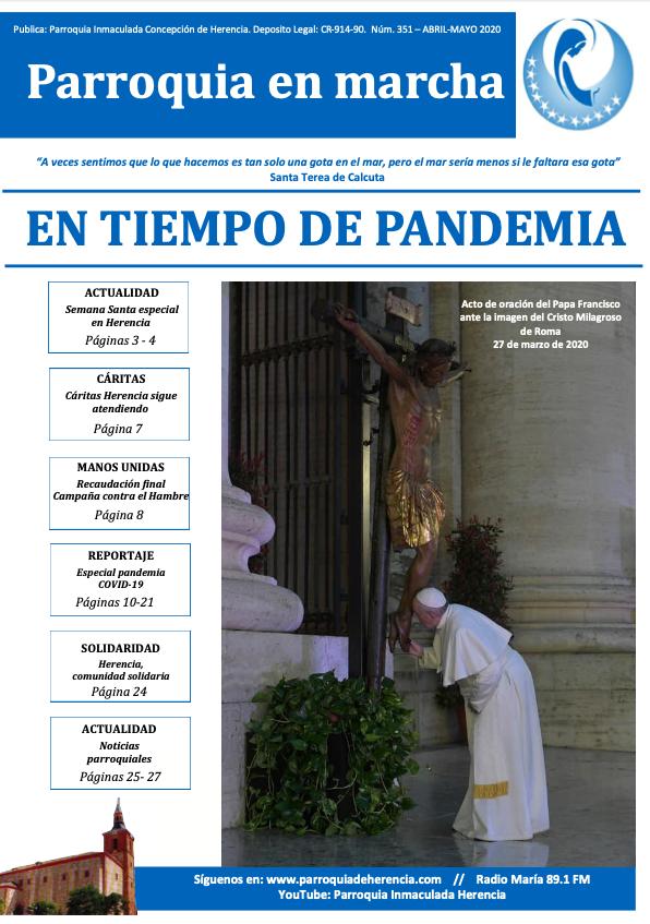 Revista Parroquia en Marcha Especial Pandemia COVID 19 N%C2%BA351 abril mayo 2020a - Parroquia en Marcha, revista decana de Herencia, descargable online en su especial sobre COVID-19