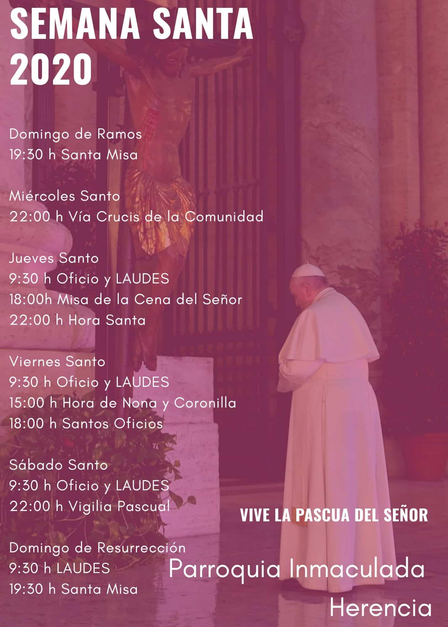 Las celebraciones de Semana Santa de la parroquia Inmaculada Concepción podrán seguirse por Facebook y Radio María 3
