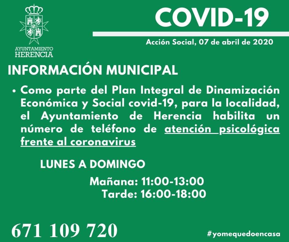atenci%C3%B3n psicol%C3%B3gica frente al coronavirus - Nuevas acciones municipales dentro del plan integral económico y social COVID-19
