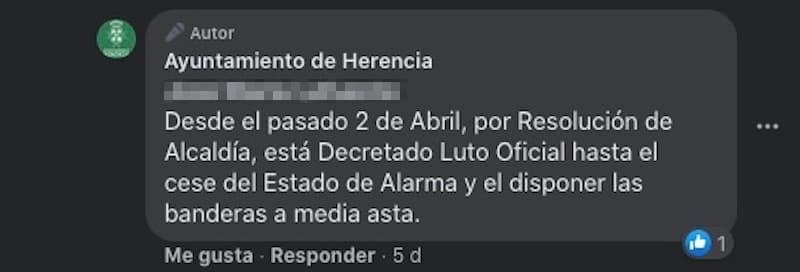 comentario luto oficial herencia - Luto oficial en Herencia por los fallecidos por coronavirus, banderas a media asta