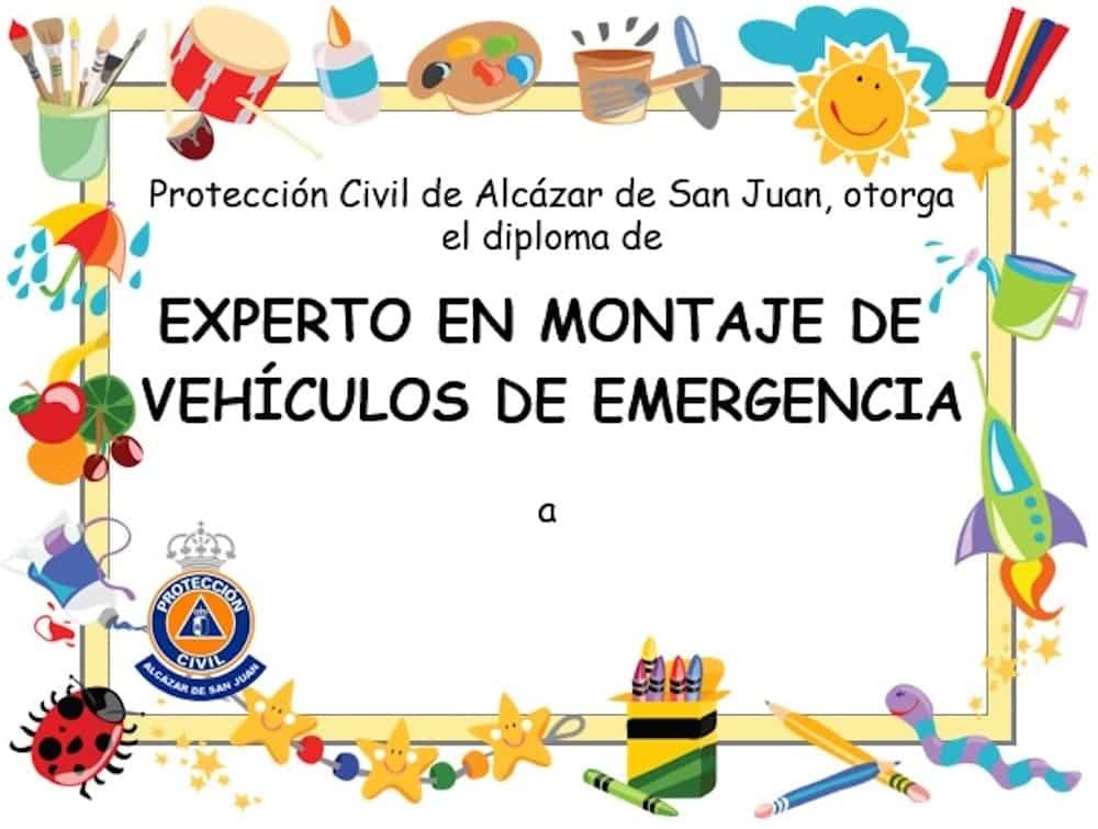 diploma experto manualidades - Recortable para crear tu vehículo de Policía Local o Protección Civil