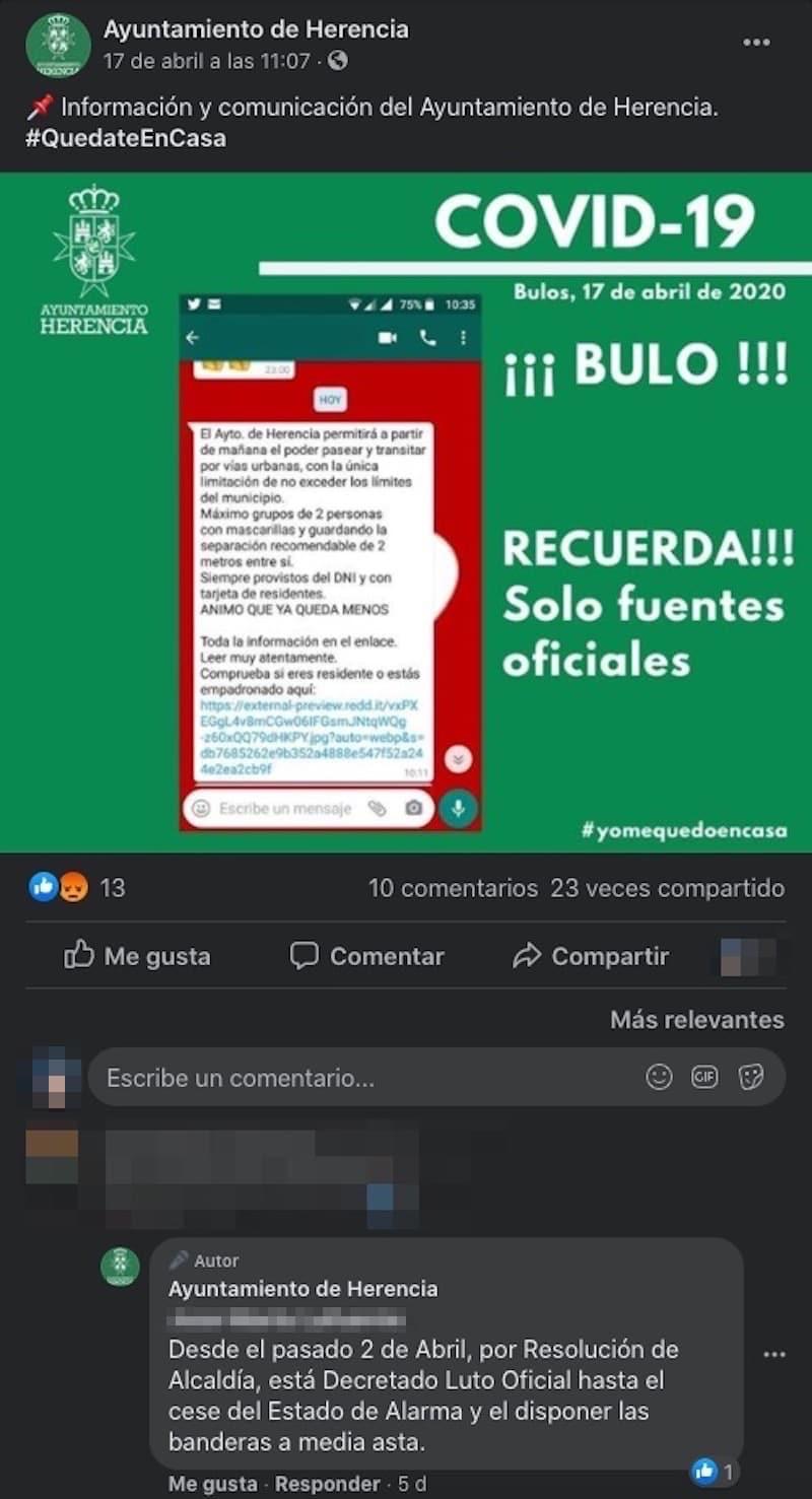 luto oficial herencia en un comentario facebook - Luto oficial en Herencia por los fallecidos por coronavirus, banderas a media asta