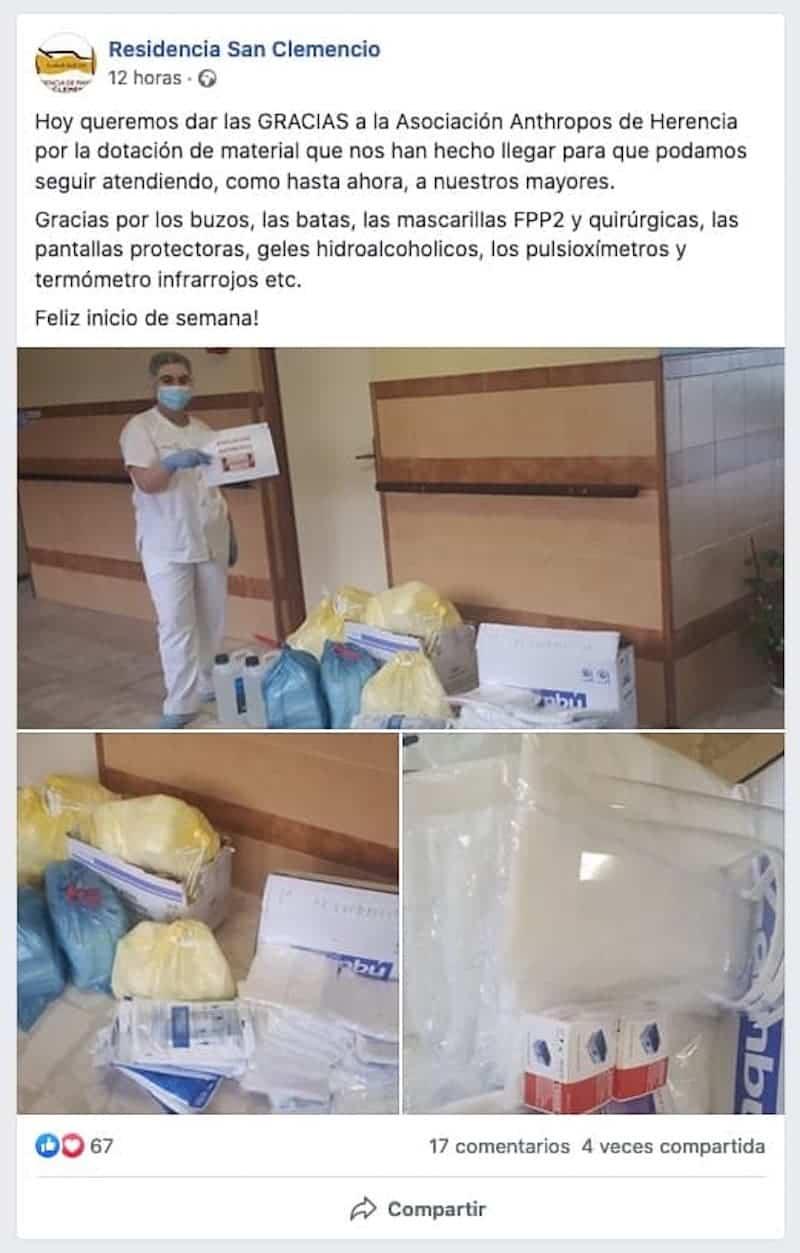 La Residencia San Clemencio de Malagón recibe la donación de material homologado desde Herencia 12