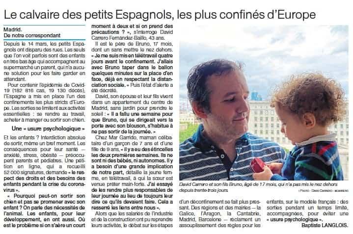 mencion en prensa papel david carrero - El calvario de los niños españoles, los más confinados de Europa