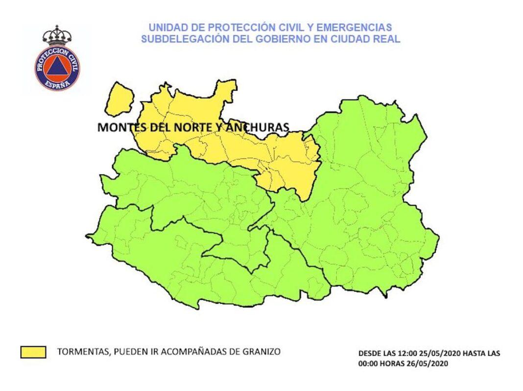 alerta amarilla 25 mayo 2020 ciudad real 1068x798 - Alerta amarilla por lluvias y tormentas durante este lunes 25 de mayo