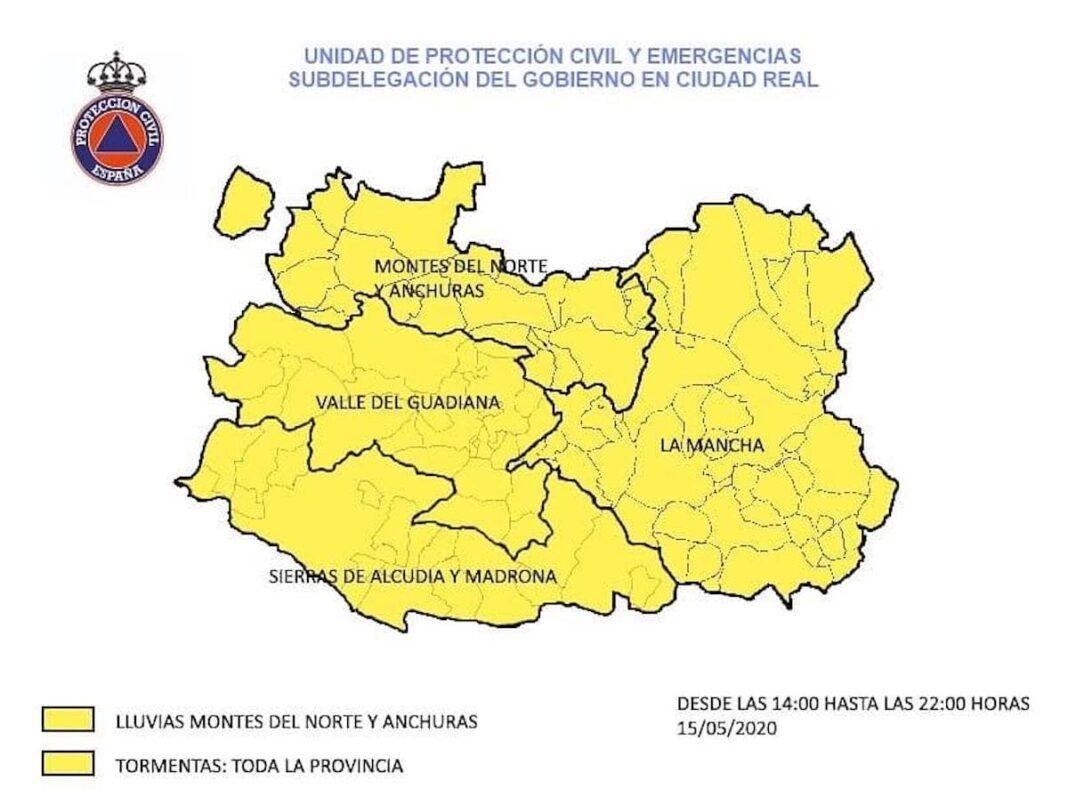 alerta amarillas lluvia tormentas ciudad real 15 mayo 2020 1068x797 - Alerta amarilla por lluvias y tormentas para el viernes 15 de mayo