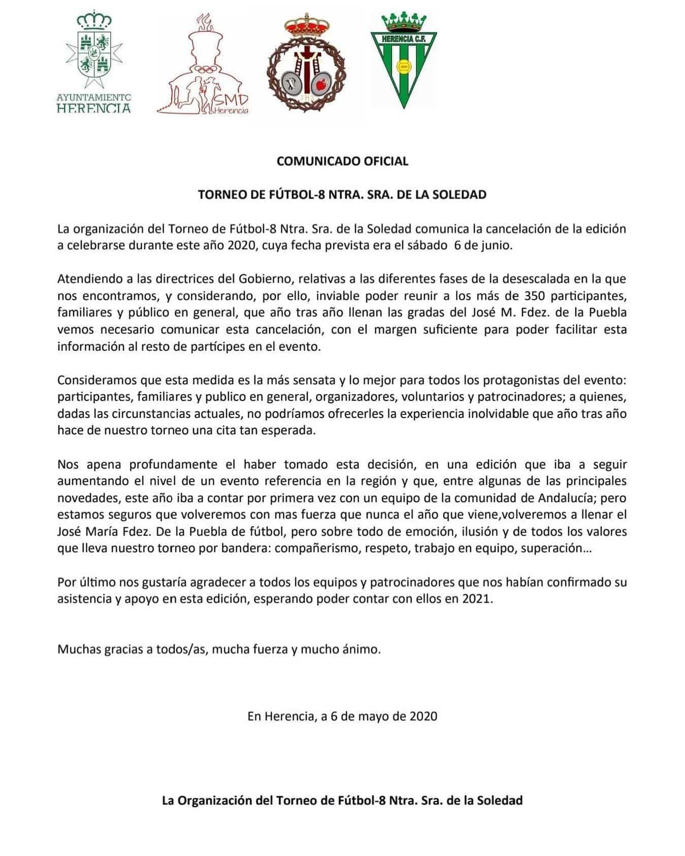 comunicado oficial torneo futbol 8 - Cancelación del Torneo de fútbol-8 Nuestra Señora de la Soledad en 2020