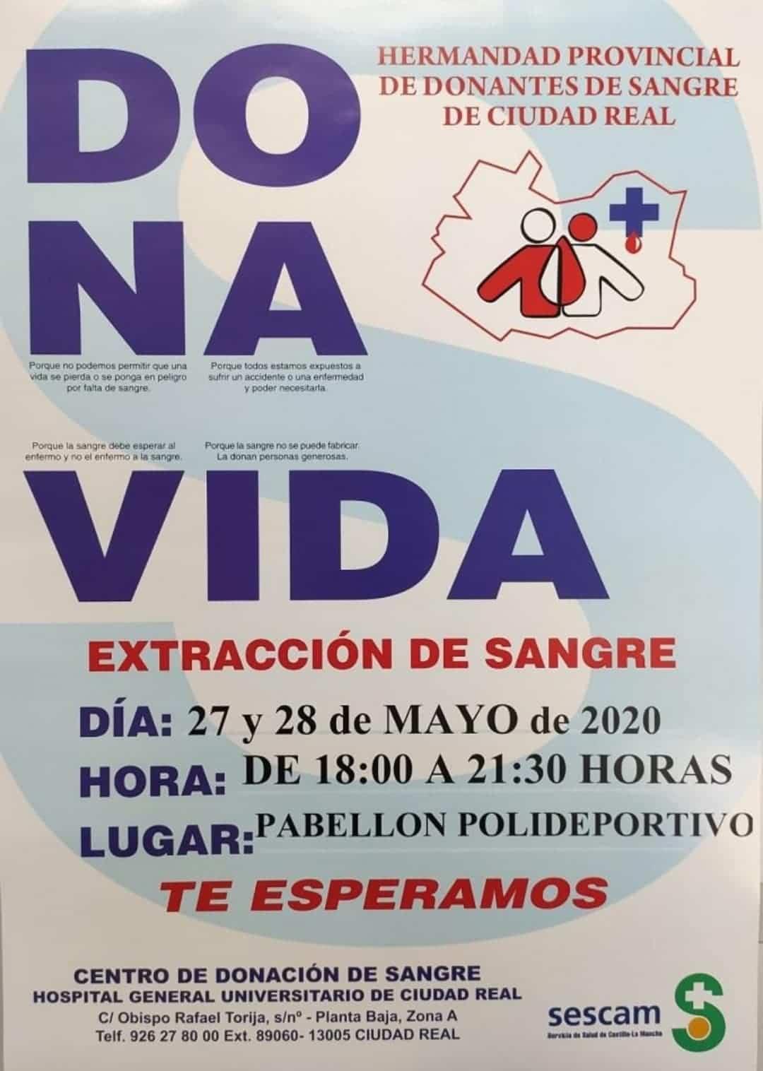 donacion sangre herencia covid 19 - Donación de sangre en Herencia los días 27 y 28 de mayo de 2020
