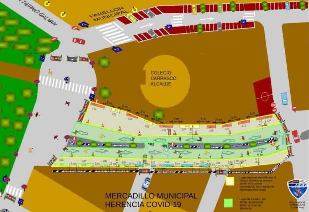 mapa mercadillo herencia covid 19 - Reapertura del Mercadillo Municipal, el Punto Limpio y Cementerio en Fase 1