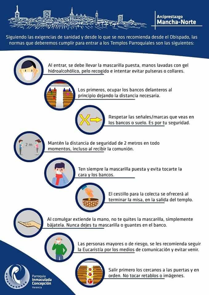 medidas seguridad iglesias infografia - La Parroquia Inmaculada Concepción de Herencia lista para su reapertura en fase 1