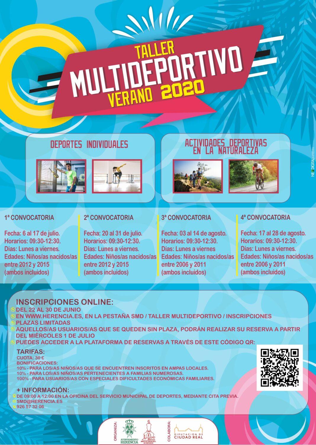 Cartel 2020 taller multideportivo herencia 1068x1503 - Deportes individuales y actividades en la naturaleza de forma segura este verano en Herencia