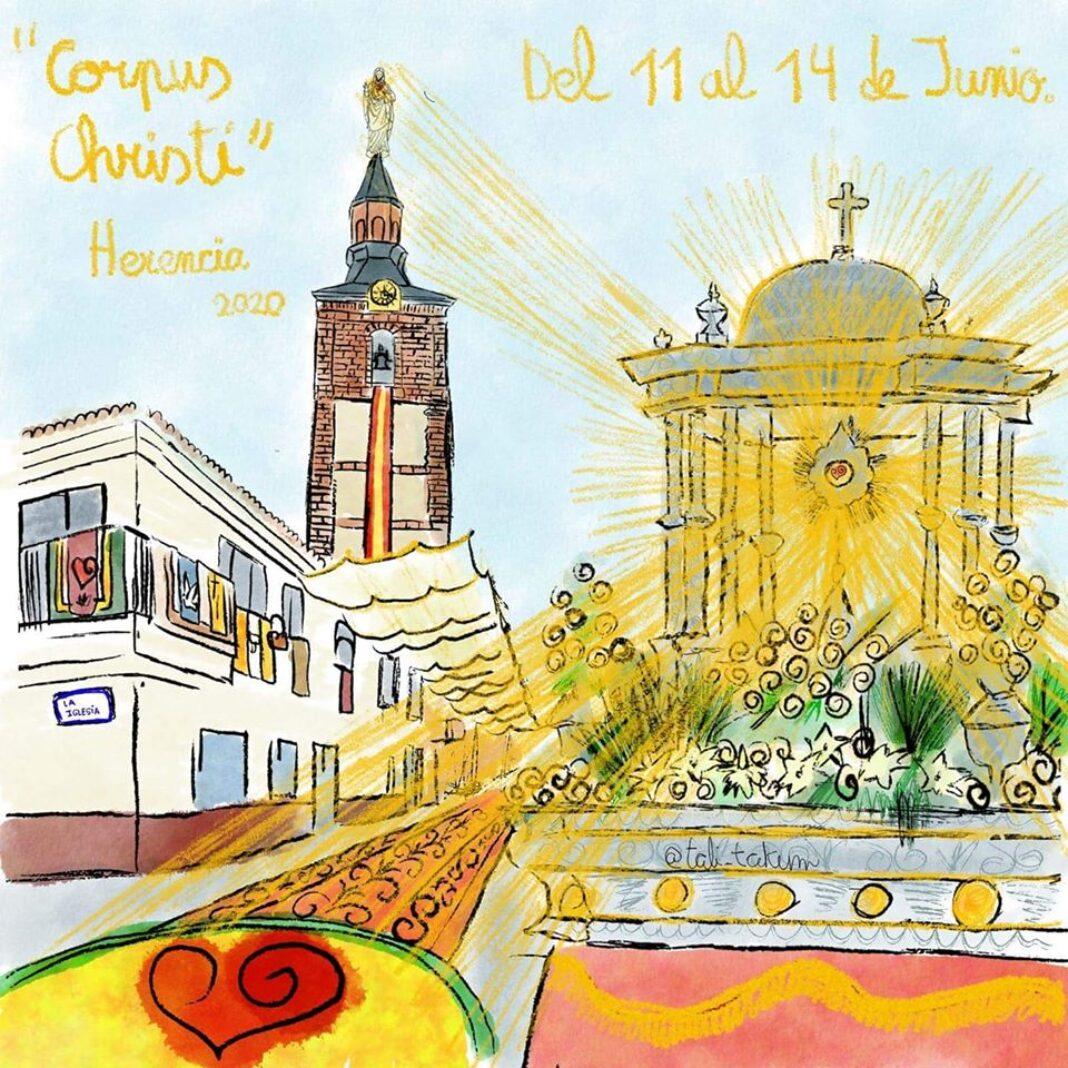 Cartel Corpus Christi Herencia 2020 1068x1068 - Programa Corpus Christi en la parroquia Inmaculada Concepción de Herencia
