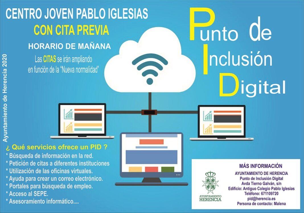 Cartel Punto de Inclusión Digital 1068x750 - El centro Joven dispone de un Punto de Inclusión Digital a disposición de la ciudadania