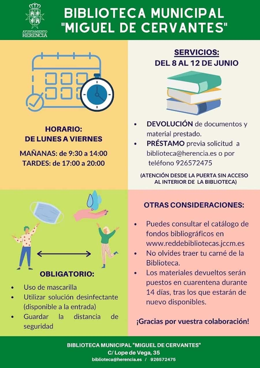 """biblioteca municipal normativa covid19 - La Biblioteca Municipal """"Miguel de Cervantes"""" comenzará a prestar servicios básicos el próximo lunes"""