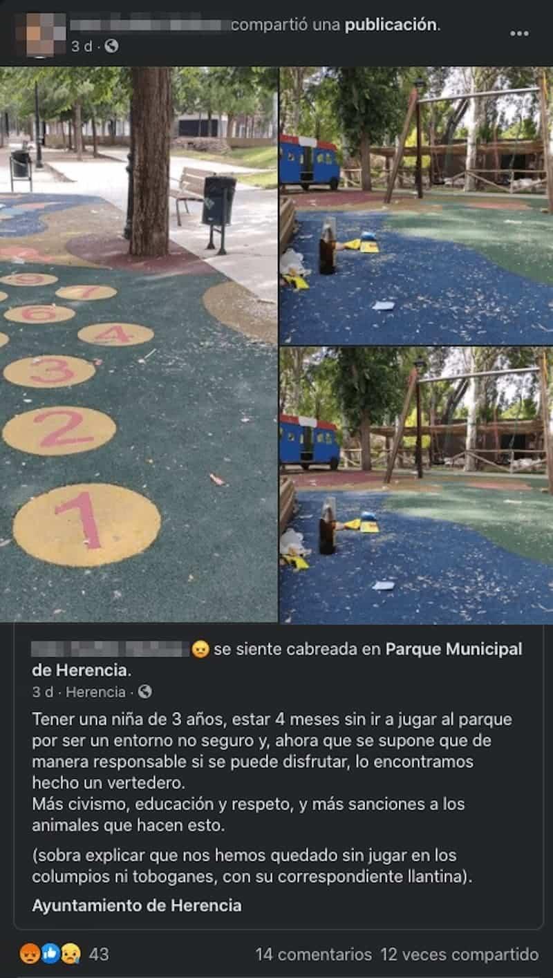 captura facebook botellon suciedad parque infantil herencia - Cuidar Herencia es muy fácil, utiliza las papeleras y contenedores