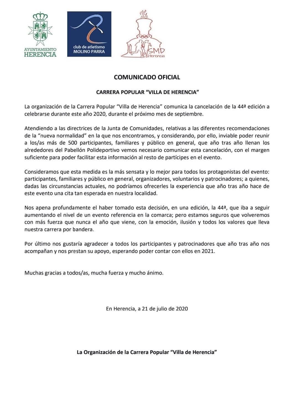 """comunicado oficial suspension carrera popular 44 herencia - Cancelada la 44 edición de Carrera Popular """"Villa de Herencia"""""""