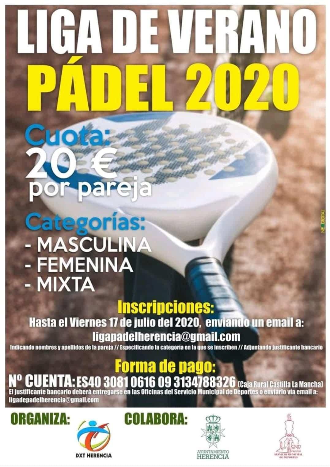 liga verano padel 2020 - Vuelve la Liga de Verano de Pádel 2020 en Herencia