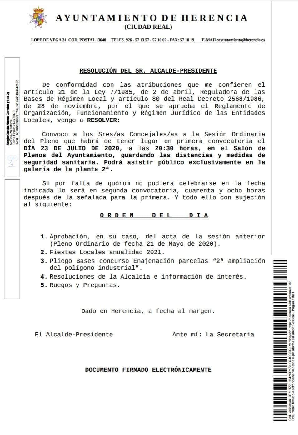 pleno 23 julio 2020 herencia - Herencia celebrará su próximo Pleno en 23 de julio de 2020 con seguridad