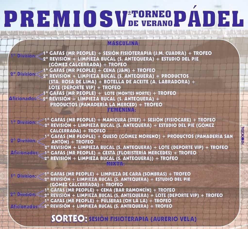 premios torneo padel verano herencia 2020 - V Torneo de Pádel de Verano en Herencia
