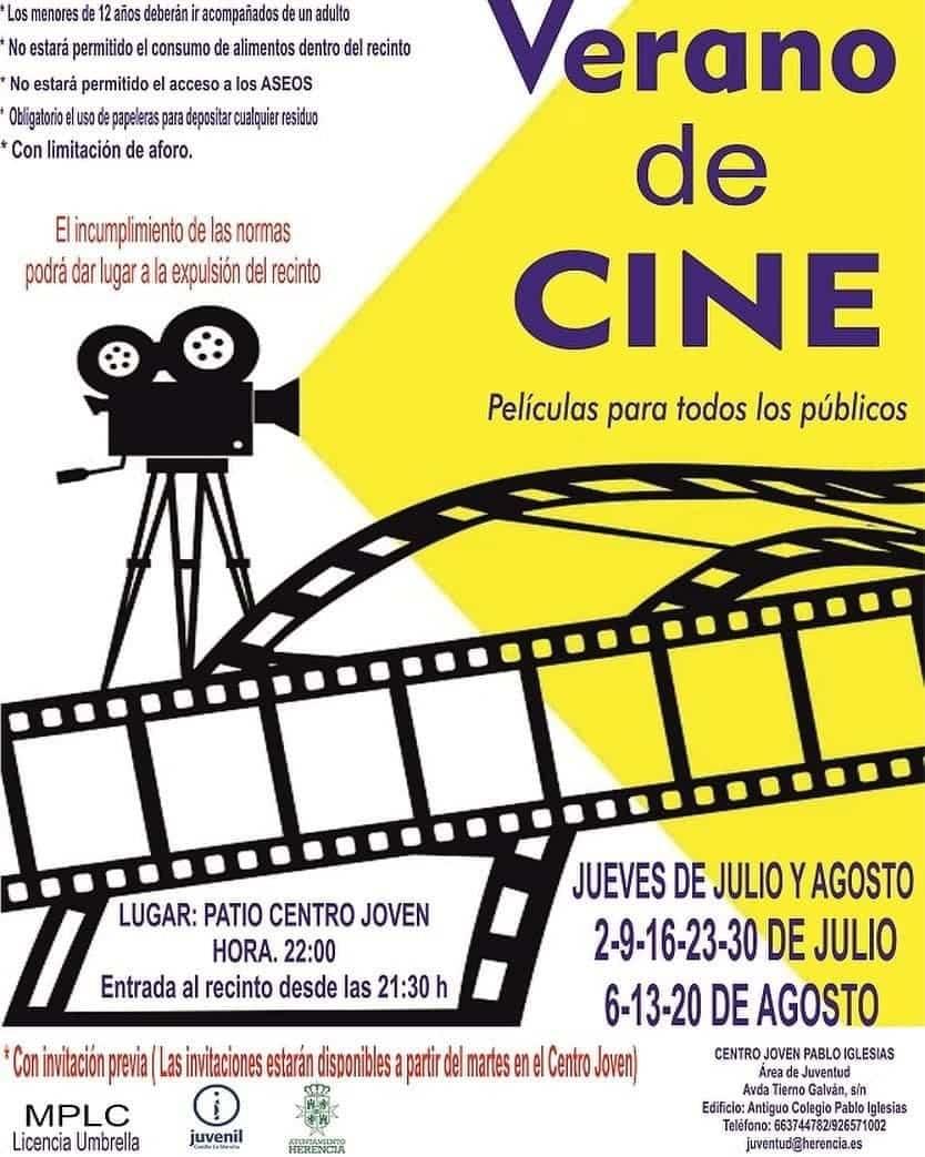 """verano cine cartel herencia - Disfruta del """"Verano de Cine"""" en Herencia con seguridad"""