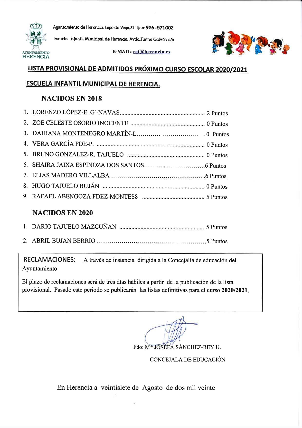 LISTA PROVISIONAL DE ADMITIDOS AS page 0002 - La Escuela Infantil Municipal publica la lista provisional de admitidos para el próximo curso