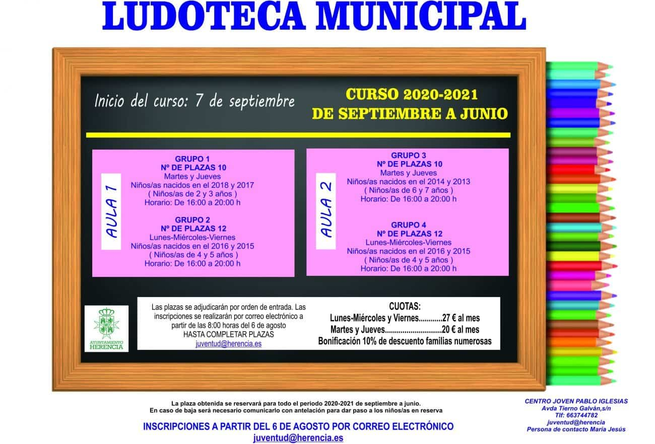 Ludoteca municipal curso 2020 2021 - El 6 de agosto se abre la matrícula para la ludoteca municipal. Curso 2020-2021