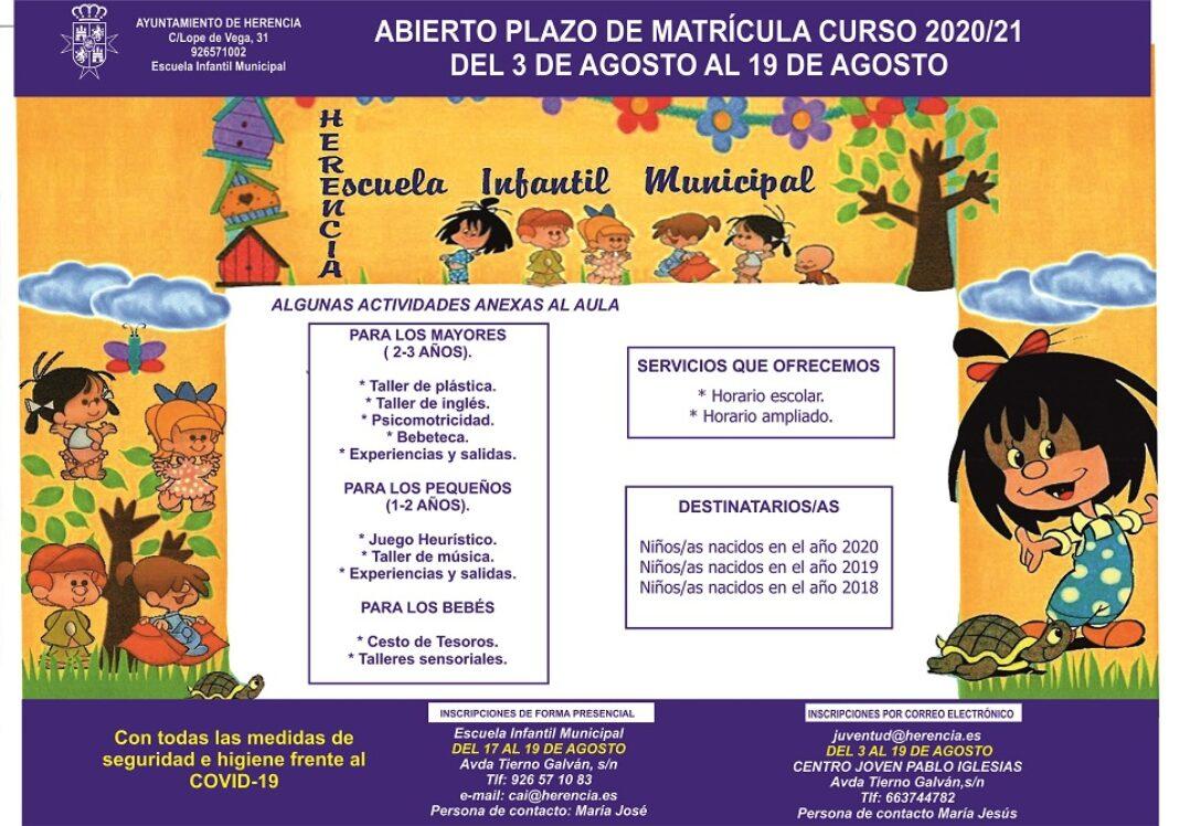 Matricula escuela de educación infantil 1068x748 - Abierta la matrícula para la Escuela Infantil de Herencia