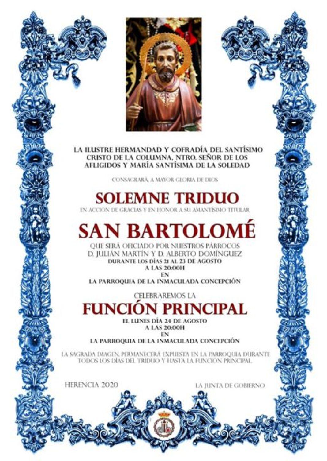 Triduo a San Bartolomé en la parroquia de Herencia 1