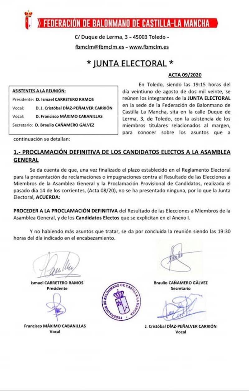 SMD BM Quijote Herencia parte de la Asamblea General de la Federacion de Balonmano de Castilla la Mancha 11