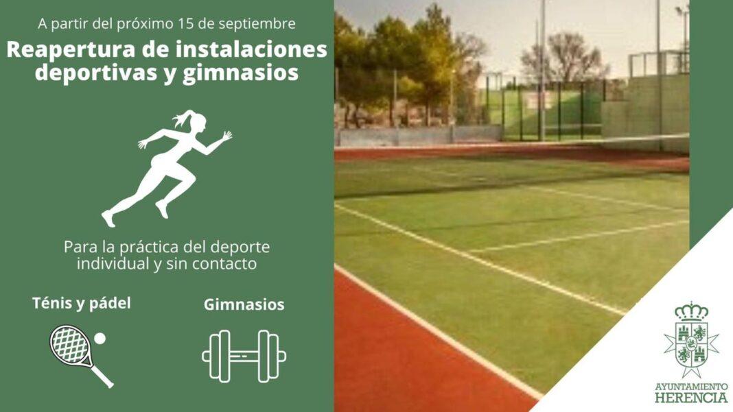 Reapertura de las pistas de tenis, pádel y gimnasios de Herencia 1