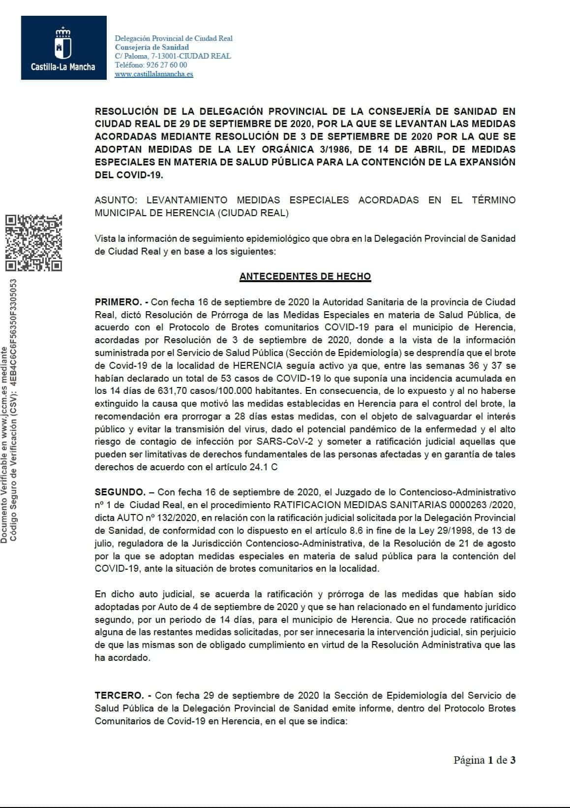 Resolucion herencia levantamiento medidas especiales covid 19 1 - Sanidad levanta la medidas especiales a Herencia desde el 30 de septiembre