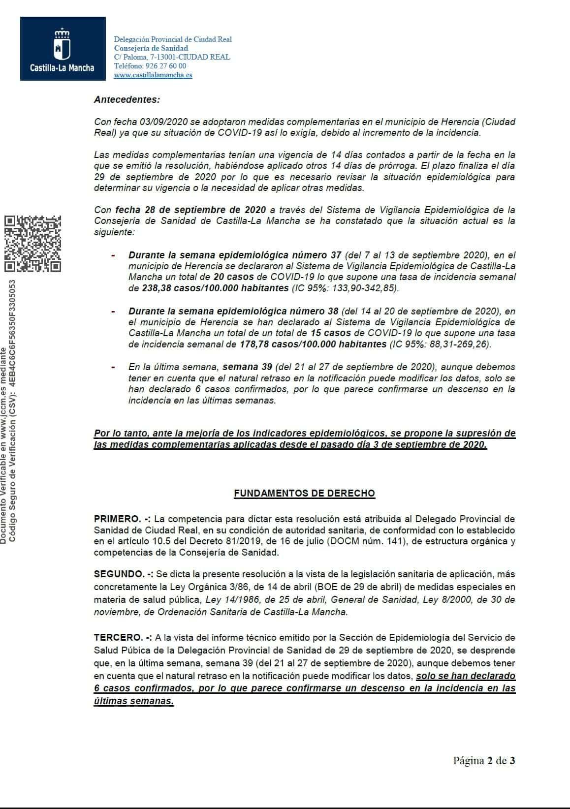 Resolucion herencia levantamiento medidas especiales covid 19 2 - Sanidad levanta la medidas especiales a Herencia desde el 30 de septiembre
