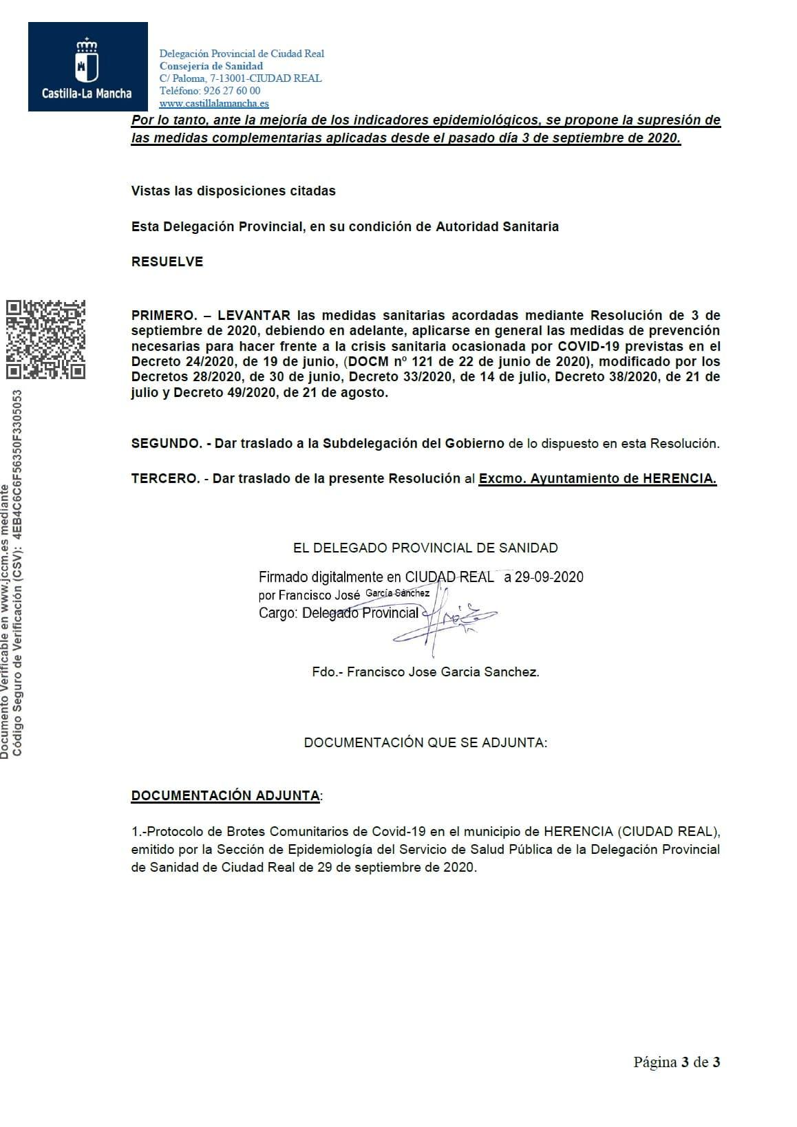 Resolucion herencia levantamiento medidas especiales covid 19 3 - Sanidad levanta la medidas especiales a Herencia desde el 30 de septiembre