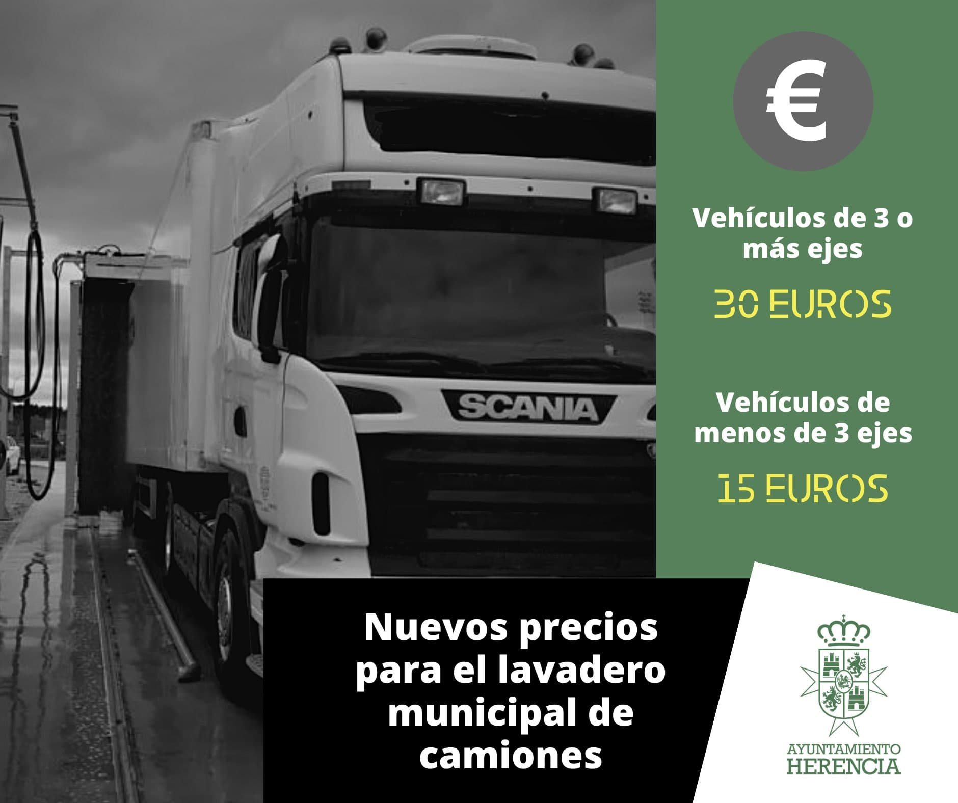 La tasa del lavadero municipal de camiones en Herencia actualizada a la baja 3