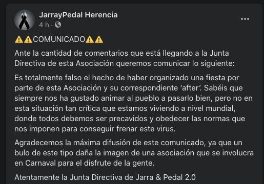 """captura comunidado jarra pedal - Comunicado oficial de Jarra y Pedal. No se ha organizado ninguna fiesta ni """"after"""""""