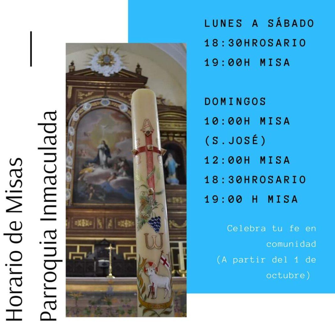 Horario de misas en la parroquia de Herencia a partir del 1 de octubre 1