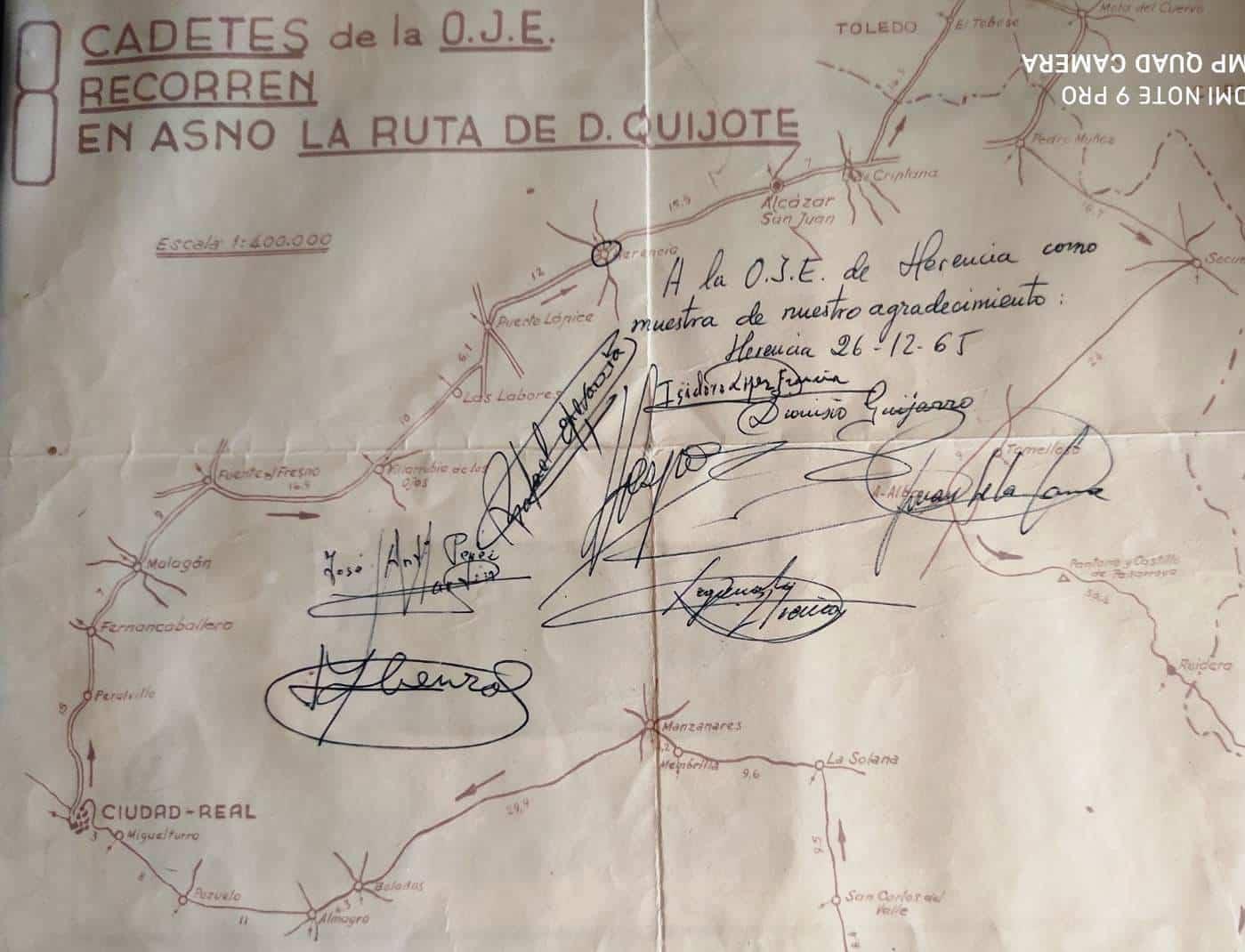 plano y firmas - La Ruta del Quijote en burro