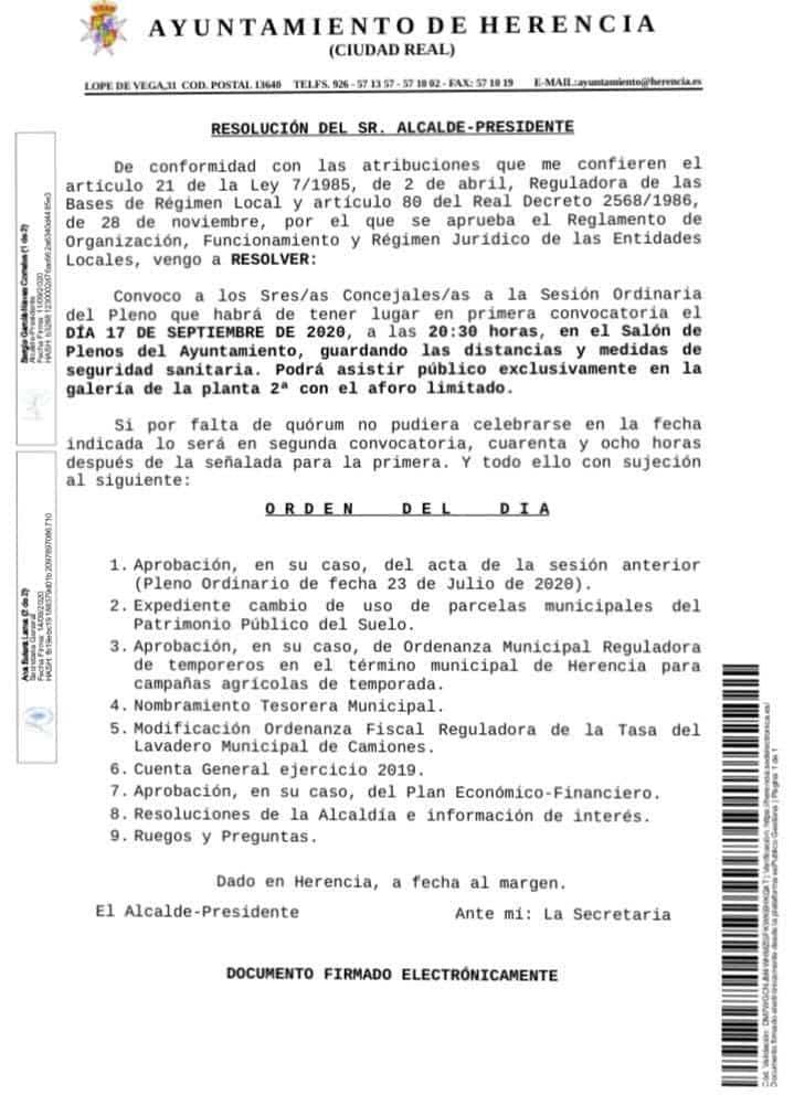 pleno ayuntamiento herencia 17 septiembre 2020 - Sesión ordinaria del Pleno del Ayuntamiento de Herencia el 17 de septiembre