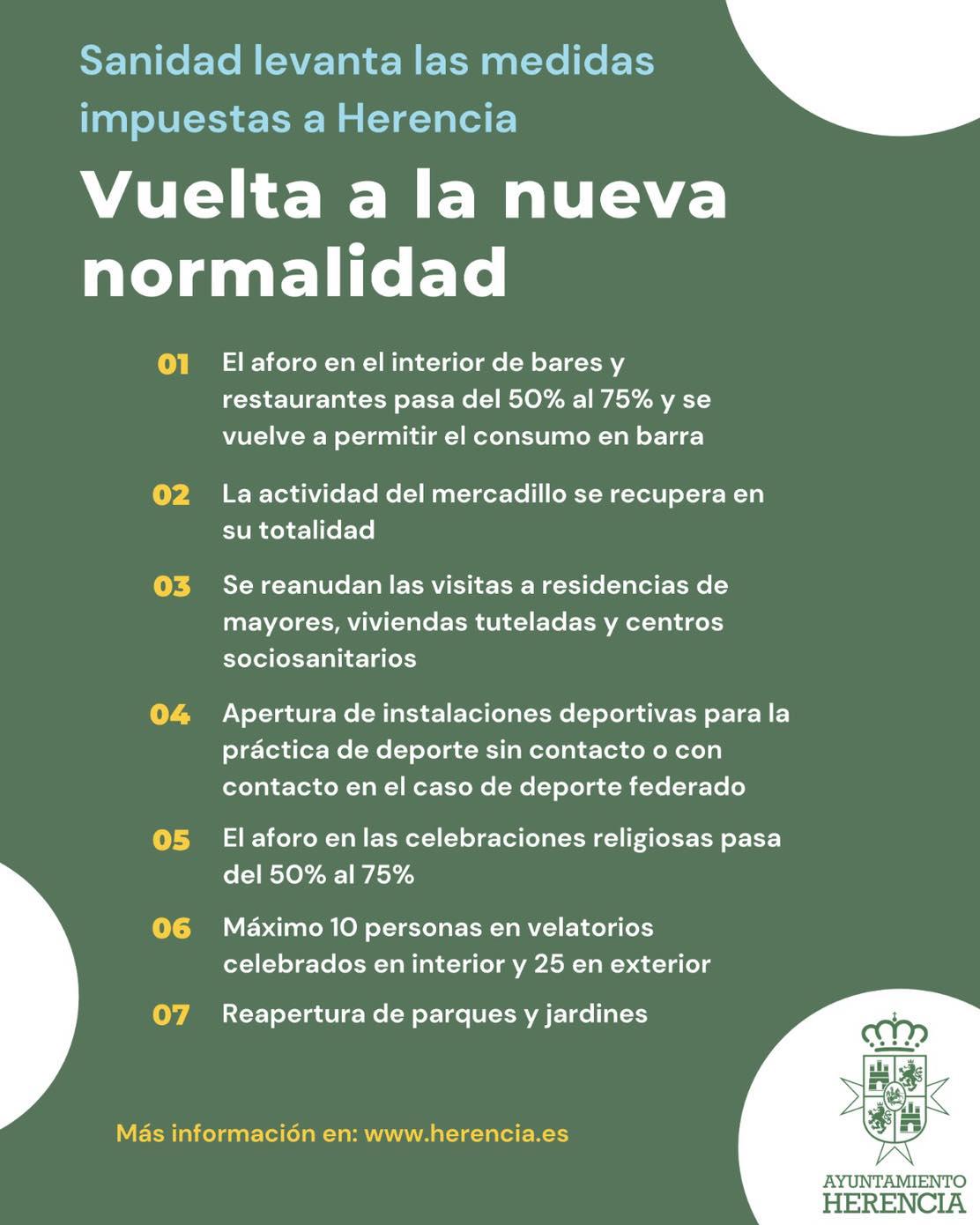 vuelta a la normalidad en Herencia - ¿Qué se puede hacer en Herencia tras el levantamiento de las medidas especiales?