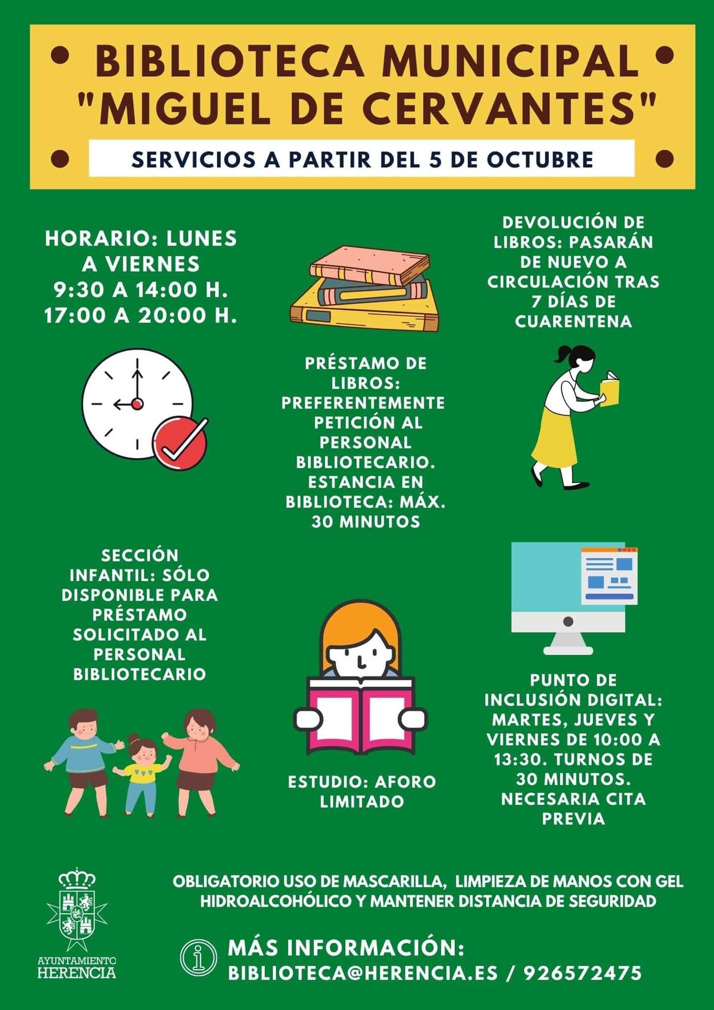 """biblioteca herencia reapertura octubre - La Biblioteca Municipal """"Miguel Cervantes"""" vuelve abrir después de las medidas especiales"""