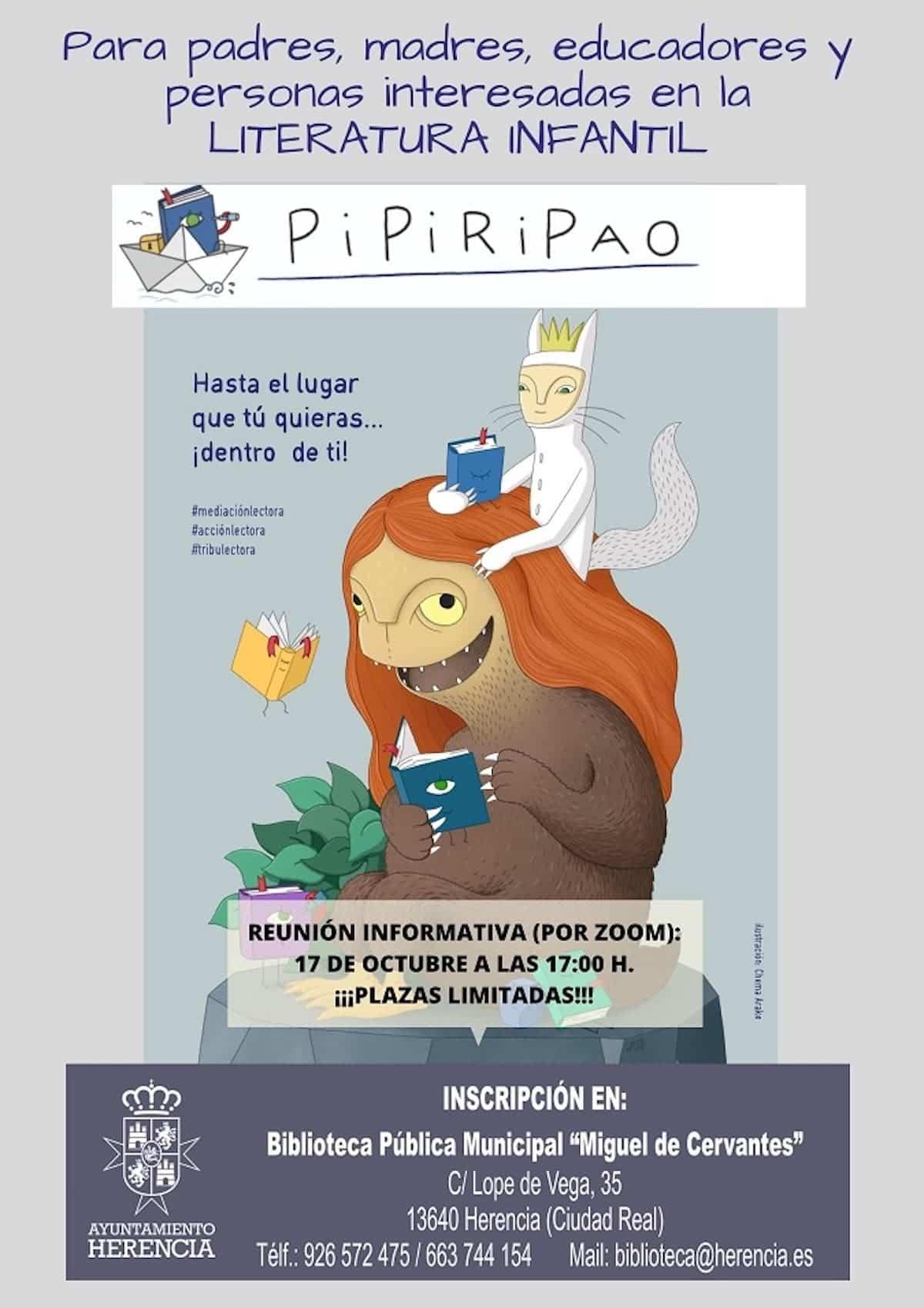 cartel pipiripao literatura infantil herencia - Nuevo curso de Pipiripao para potenciar la lectura entre los más pequeños desde la Biblioteca herenciana