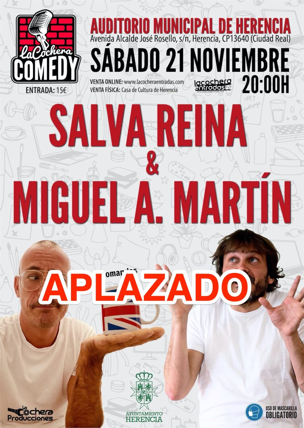 Salva Miguel HERENCIA la cochera comedy APLAZADO 1068x1502 - Aplazada la actuación de Salva Reina y Miguel Martín