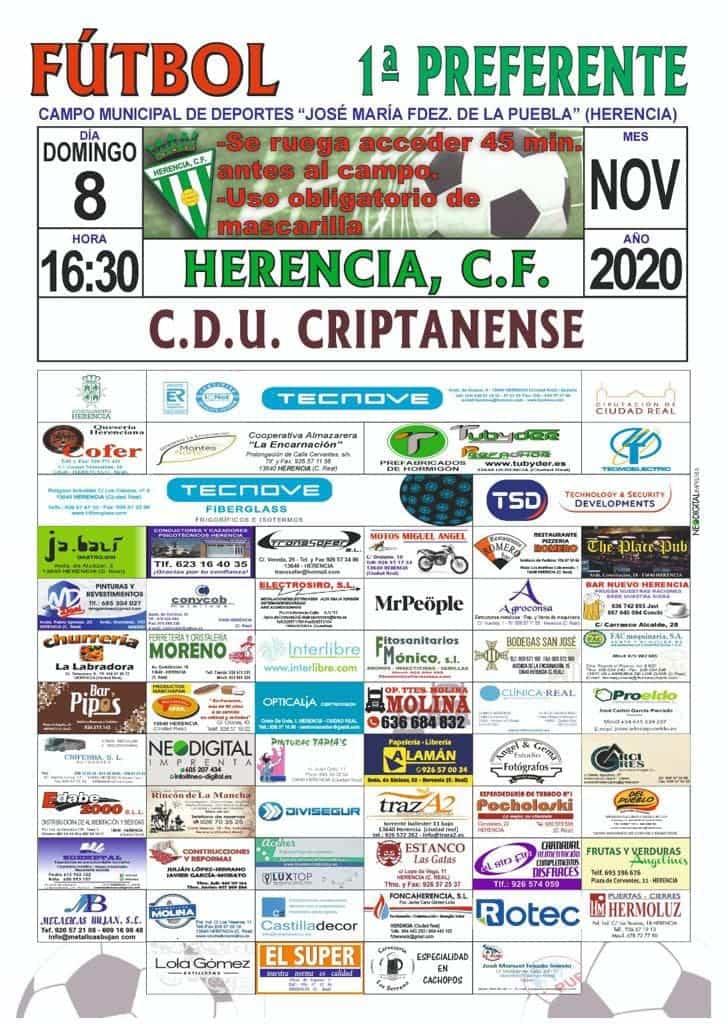 cartel partido 8 noviembre herencia criptanense - Vuelve el fútbol al Fernández de la Puebla en Herencia este fin de semana